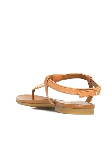 Divarese Divarese 5022995 Taba Taşlı Kadın Deri Sandalet Taba
